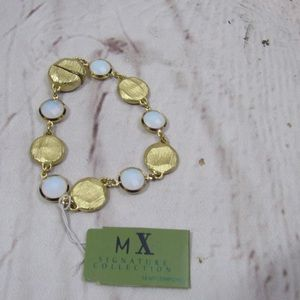MX signature collection white and gold bracelet